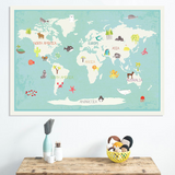 Interactive World Map 36x24 + 40 reusable stickers
