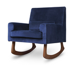 storytime rocker nurseryworks in navy velvet  walnut wood legs