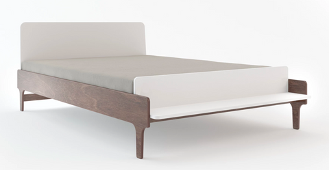 oeuf river full bed in white and walnut