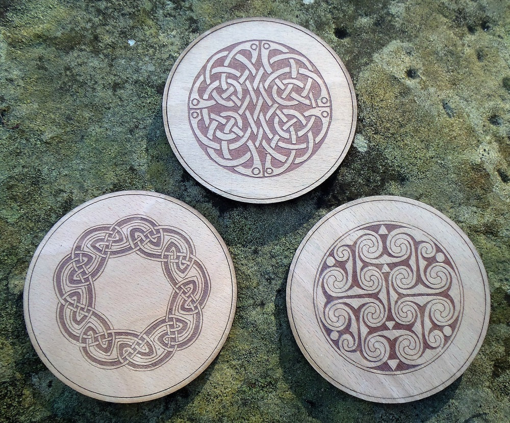 Set of 6 wooden coasters with celtic designs