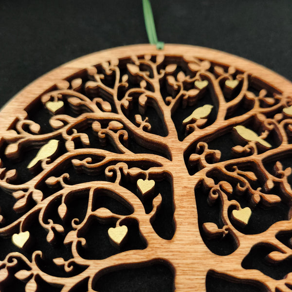 Wooden Tree with Birds and Hearts