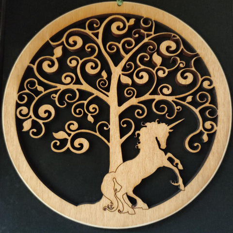 Wooden Wall Hanging of a Unicorn under a Fantasy Tree