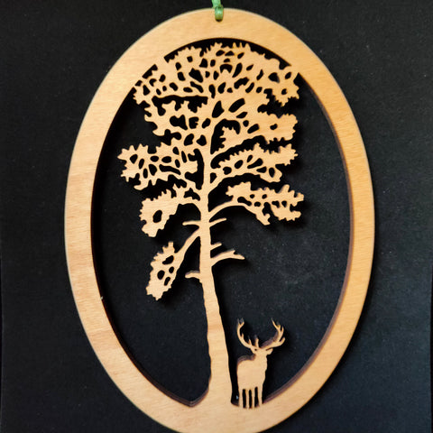 Wooden Wall Hanging of Scots Pine Tree with Stag underneath