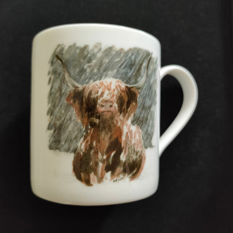 Set of 6 small China Mugs with a series of different Highland Cattle pictures