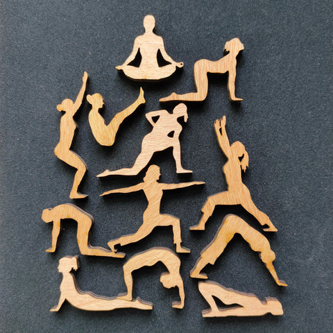 Desktop Yoga! Yoga lover gift. Bag of twelve mini wooden yogini