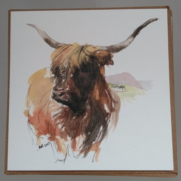 Set of 6 assorted Highland Cattle Greeting Cards
