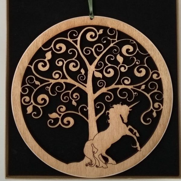Wooden Hanging of a Unicorn under a Fantasy Tree