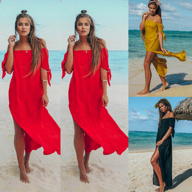 Sexy Off Shoulder Women Tunic Beach Dress Swim Suit Short Sleeve Solid Cover Up Summer Maxi Beach Dresses For Women Swimsuits