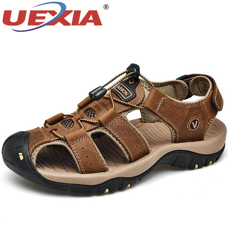 UEXIA Male Shoes Genuine Leather Men Sandals Summer Men Shoes Beach Fashion Outdoor Casual Non-slip Sneakers Footwear Size 48