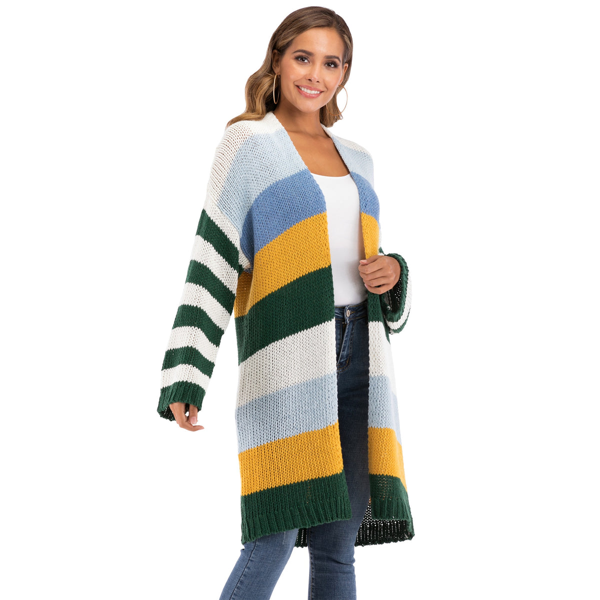 WOMEN'S Winter Coat Warm Cross Border Casual Long Joint Contrast Color Striped Oversize Knitted Sweater Cardigan Patched Outwear