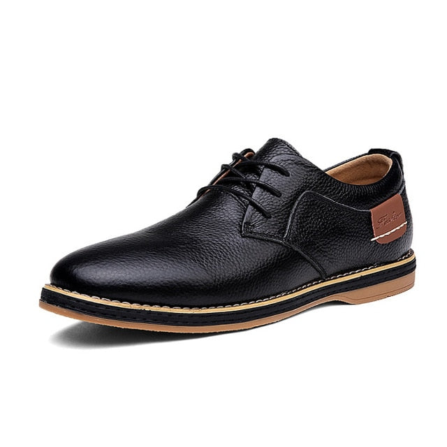 Merkmak Oxford Genuine Leather Dress Shoes Men Classic Lace-Up Winter Spring Office Walking Footwear Big Size 48 Flats Male
