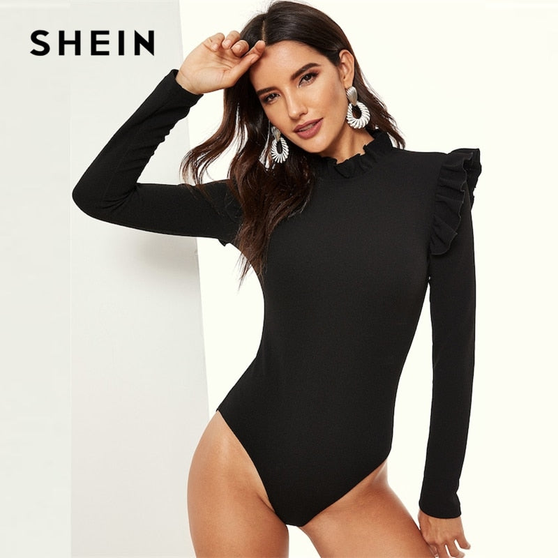 SHEIN Black Stand Collar Frill Detail Slim Fitted Skinny Plain Bodysuit Long Sleeve Women 2019 Spring Mid Waist Bodysuits