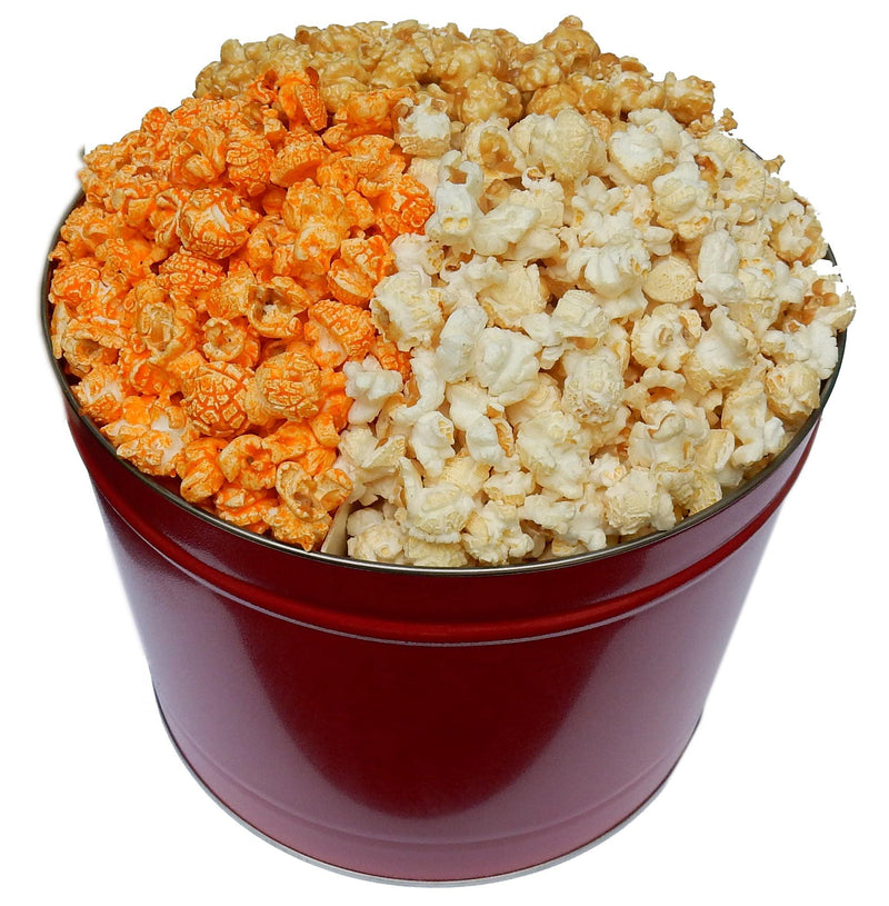 Groovy Candies Gourmet Popcorn 3 Flavor Sampler in a 2 Gallon Tin