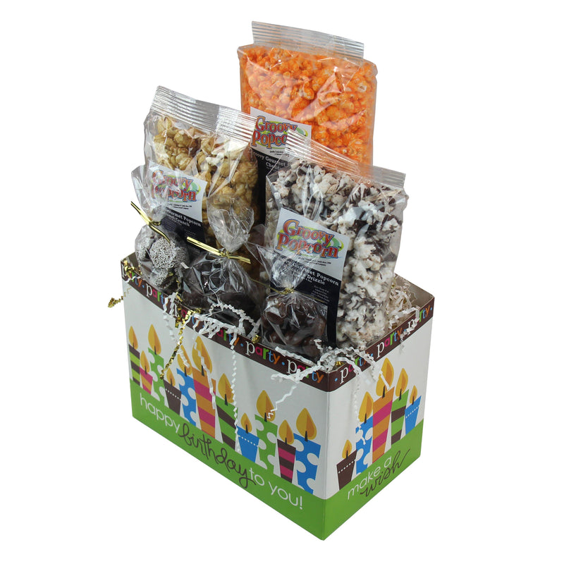 Groovy Candies Gourmet Chocolate and Popcorn Happy Birthday Gift Box