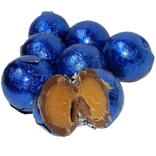 Royal Blue colored foil wrapped caramel filled chocolate balls