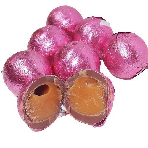 Bright Pink Foil Wrapped Caramel filled Chocolate Balls