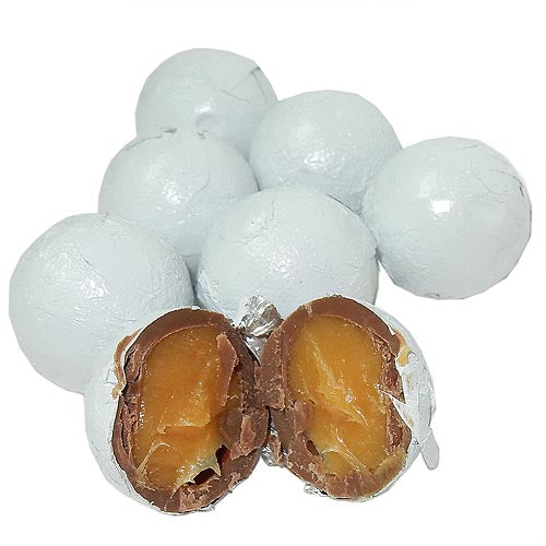 White Foil Wrapped Caramel filled Chocolate Balls
