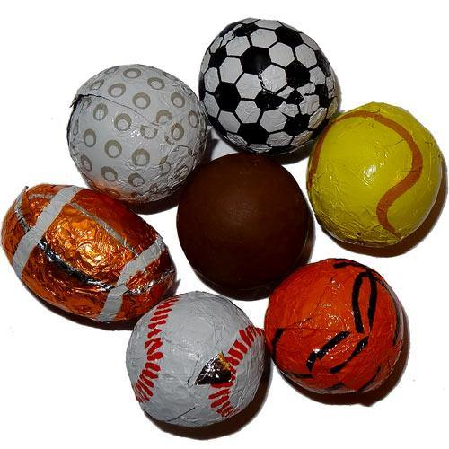 chocolate foil covered sports balls bulk