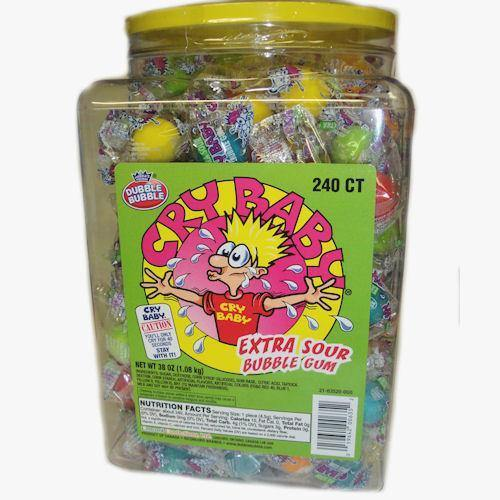 cry baby xtra sour gum 240 piece tub