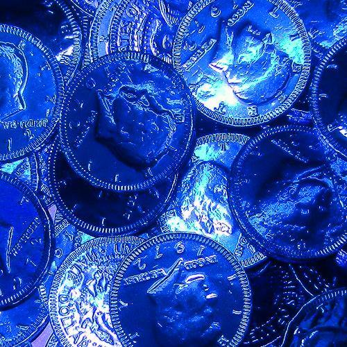 dark blue foil covered chocolate coins