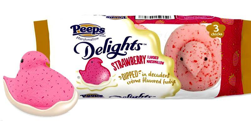 peeps Strawberry Chicks dipped in white fudge  3 pack