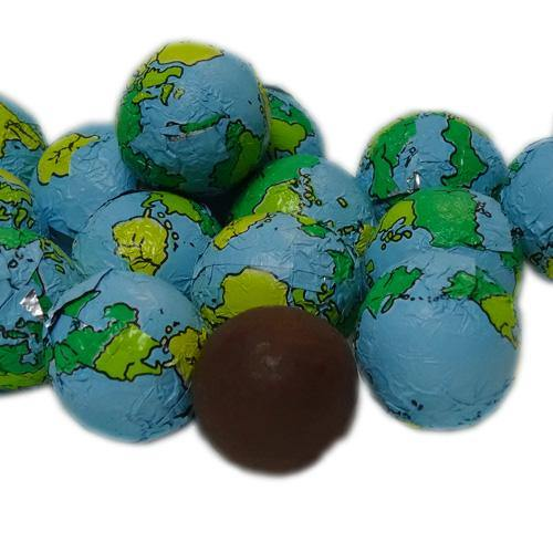 foil wrapped chocolate earth globes