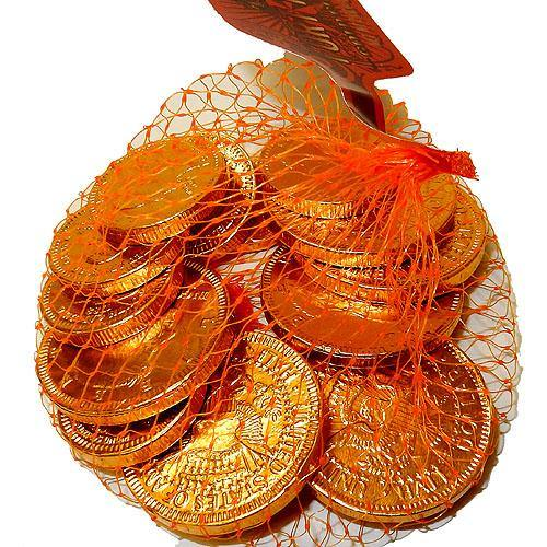 Chocolate Coins in Gold Foil - 2oz mesh bags