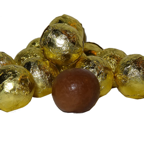 gold foil covered chocolate balls