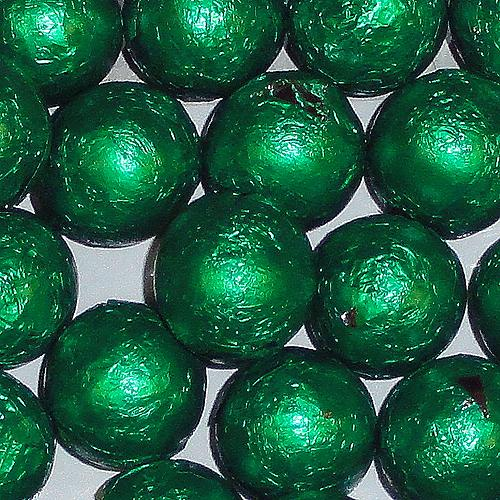 green foil covered chocolate balls