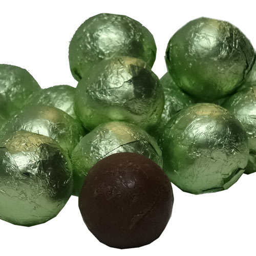leaf green foil covered chocolate balls