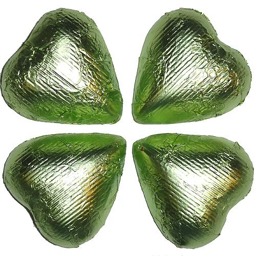 leaf green foil covered chocolate hearts