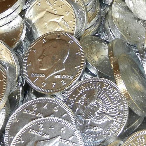 silver foil covered chocolate coins
