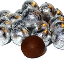 silver foil wrapped chocolate balls
