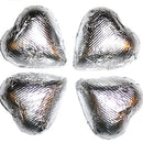 silver foil wrapped chocolate hearts