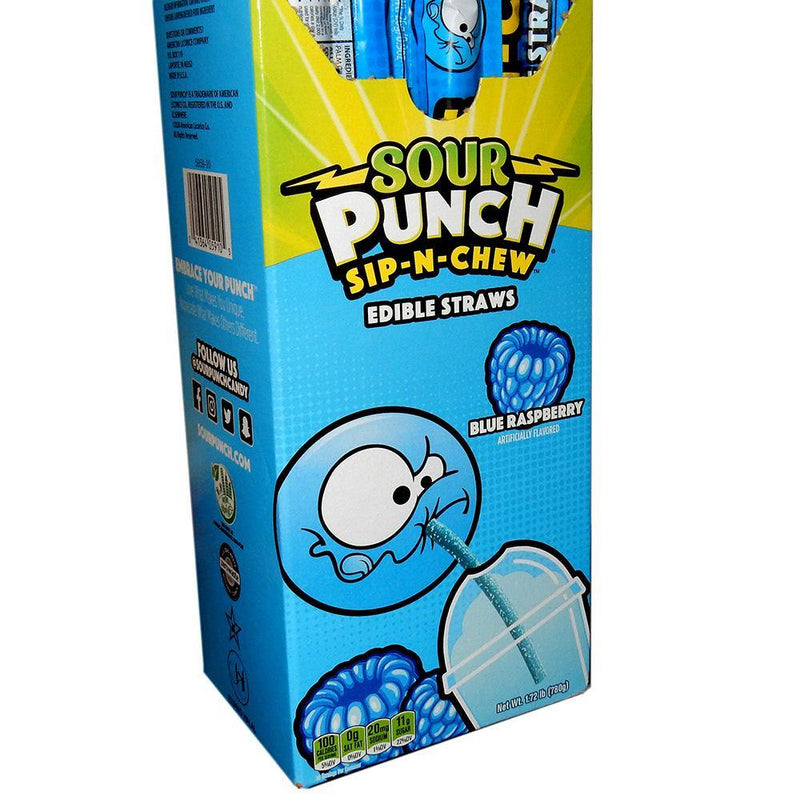 blue raspberry sour punch sip-n-chew candy straws