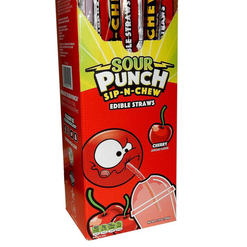 cherry sour punch sip-n-chew candy straws