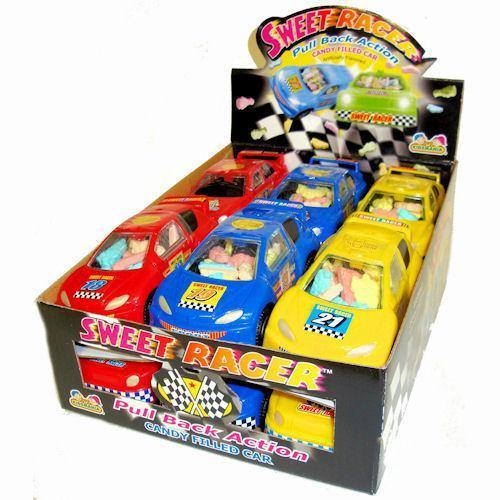 sweet racer car with candy