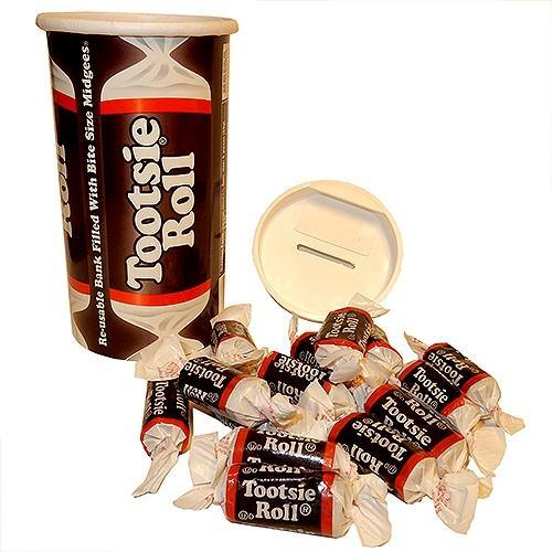 Tootsie Roll Bank filled with Midgees