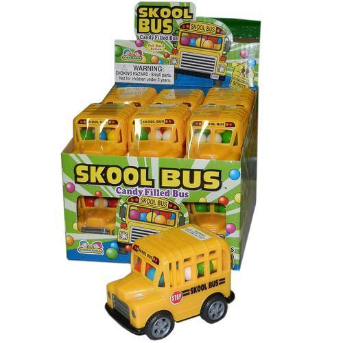toy school bus with candy