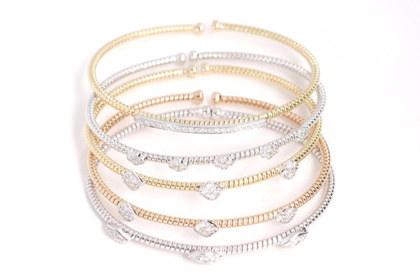White, Yellow and Rose Gold and Diamond Stackables