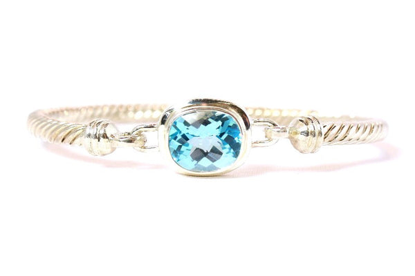 Silver Twist Bangle with Blue Topaz