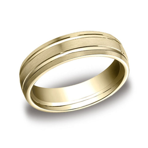 Carved Wedding Band - Parallel Lines