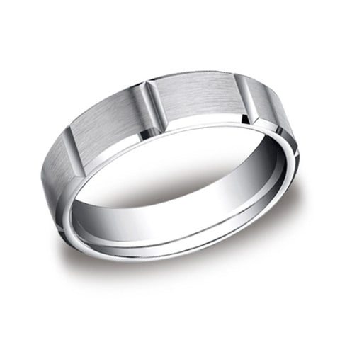 Carved Wedding Band - Vertical