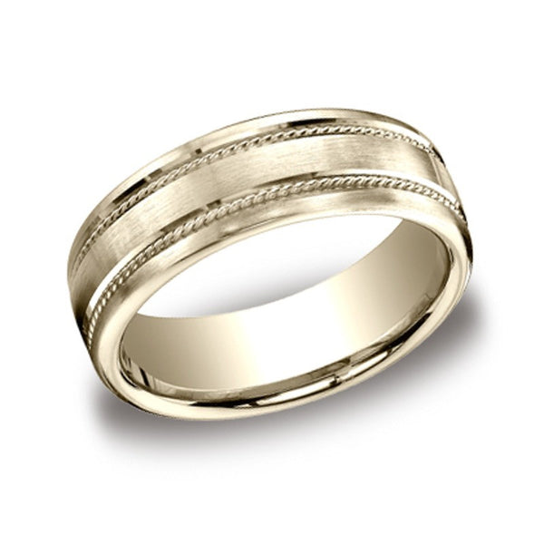 Carved Wedding Band - Parallel Rope