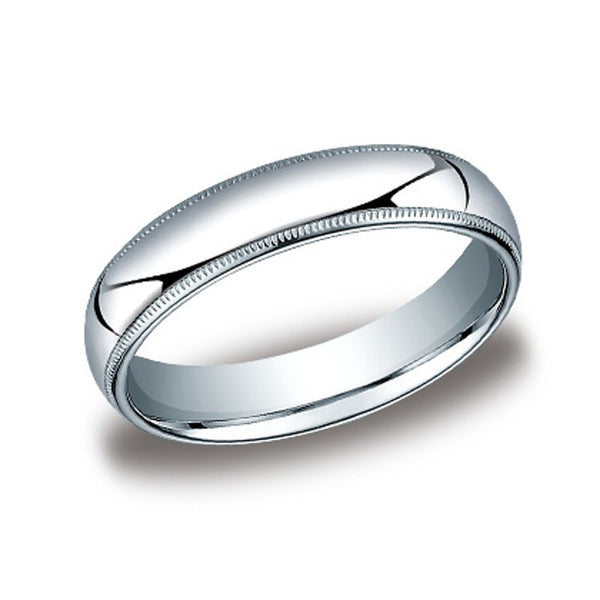 Traditional Domed Wedding Band with Milgrane Edges