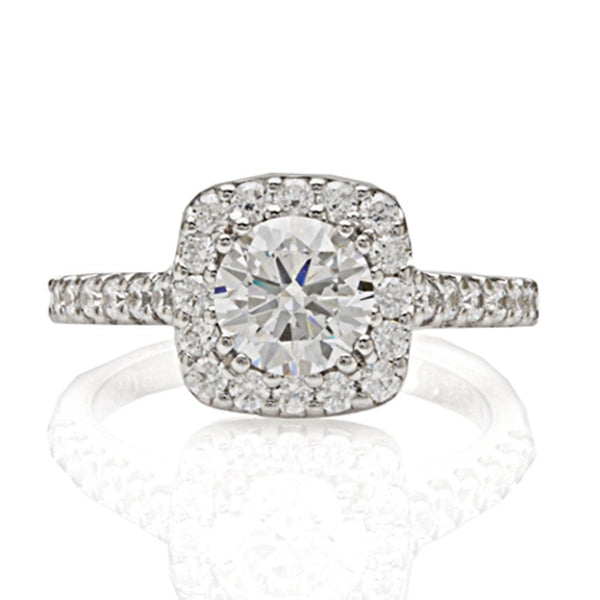Engagement Ring with Square Halo