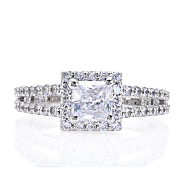 Engagement Ring with Square Halo and Open Split Shank