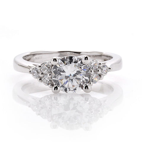 Engagement Ring with Diamond Clusters