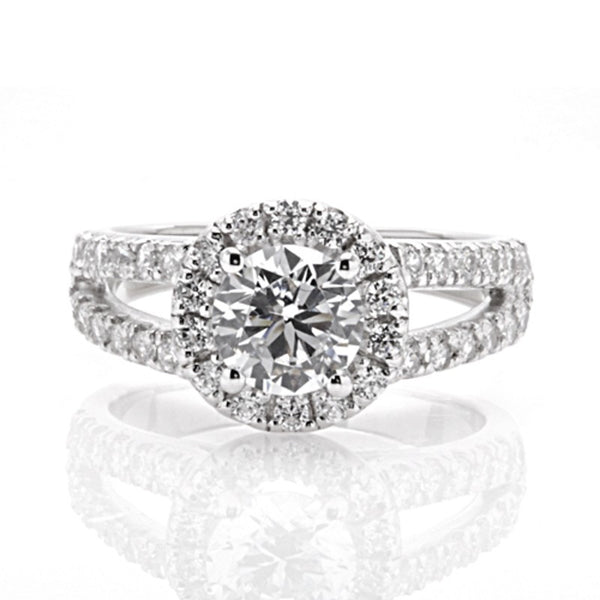 Engagement Ring with Round Halo and Open Split Shank