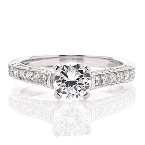 Engagement Ring with 3 Sides of Milgrain and Diamonds
